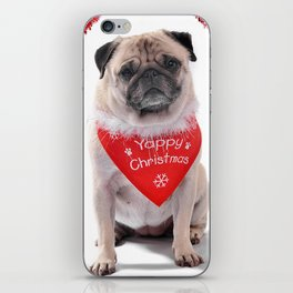 Yappy Christmas Pug  iPhone Skin