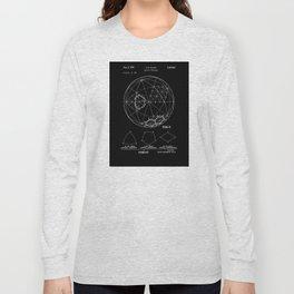 Buckminster Fuller 1961 Geodesic Structures Patent - White on Black Long Sleeve T-shirt