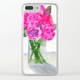 Peonies in a Vase Clear iPhone Case