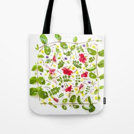 Leaves and flowers pattern (30) Tote Bag