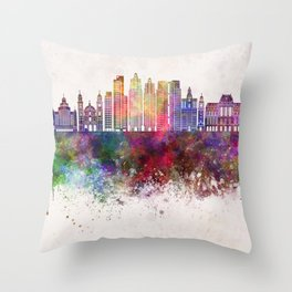Buenos Aires V2 skyline in watercolor background Throw Pillow