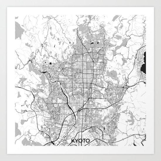 Kyoto Map Gray Art Print
