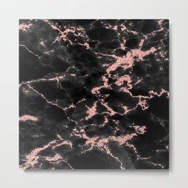 Beautiful Black marble with Glittery Rose Gold Veins Metal Print