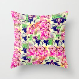 Abstract Pink Floral With a Cat Throw Pillow