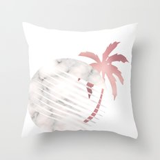 Marble Moon Rosegold Palm Tree Throw Pillow