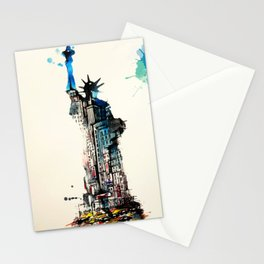 Vintage Liberty New York City Travel Love Watercolor Stationery Cards