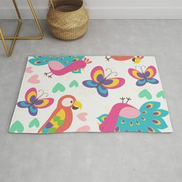 Exotic Birds & Butterflies Pattern Rug