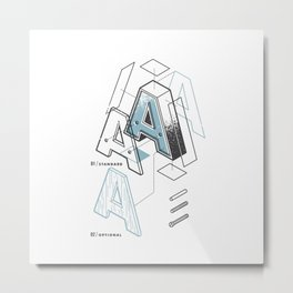 The Exploded Alphabet / A Metal Print