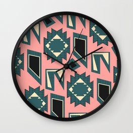 Shapes and strokes in blue and coral Wall Clock