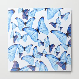 Butterflies Blue Wings White Background #decor #society6 #buyart Metal Print