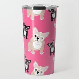 French Bulldog Puppies Pink Travel Mug