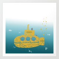 yellow submarine Art Prints featuring YELLOW SUBMARINE by ARCHIGRAF
