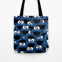 cookie monster Tote Bags featuring Cookie Monster  by aldarwish