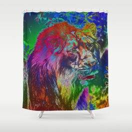 Neon Lion Shower Curtain