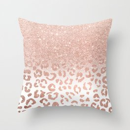Trendy modern faux rose gold glitter ombre leopard pattern Throw Pillow
