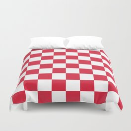 Red, Cherry: Checkered Pattern Duvet Cover
