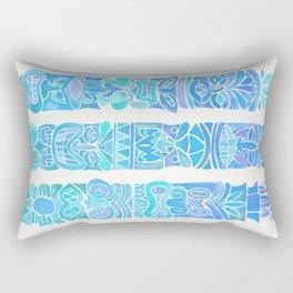 Tiki Totems – Turquoise Palette Rectangular Pillow