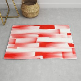 Red and White Abstract Art Rug