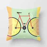 bikes Throw Pillows featuring Bikes by KateWadsworth
