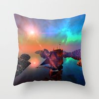 ship Throw Pillows featuring Ship  by nicky2342