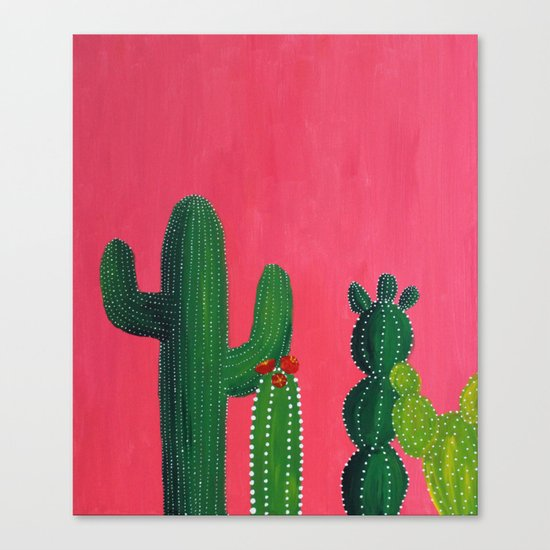 Pink cactus canvas print by bympv society6