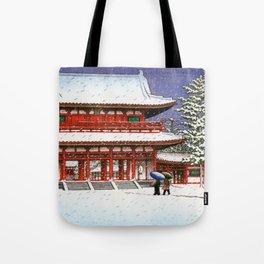 Snow In The Heianjingu Shrine - Digital Remastered Edition Tote Bag