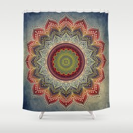 Retro Folk Art - Spirit Lotus Mandala Blue Red Shower Curtain