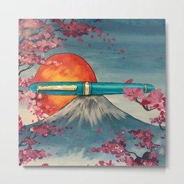Platinum 3776 over Mt. Fuji Metal Print