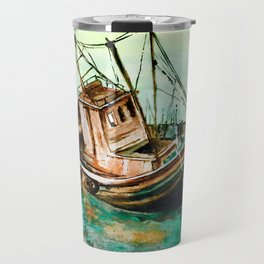 Boat on Seashore Travel Mug