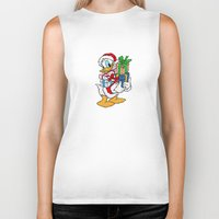 donald duck Biker Tanks featuring Donald Duck with christmas gifts by Yuliya L