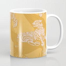 Sunny Tigers and Palms / Yellow, mustard, golden Coffee Mug