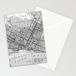 Vintage Map of Montreal (1906) BW Stationery Cards