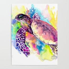 Sea Turtle in Coral Reef, tropical colors sea world purple yellow blue turtle art, turtle illustrati Poster
