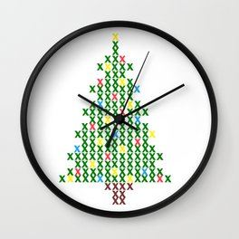 Cross Stitch Christmas Tree Wall Clock