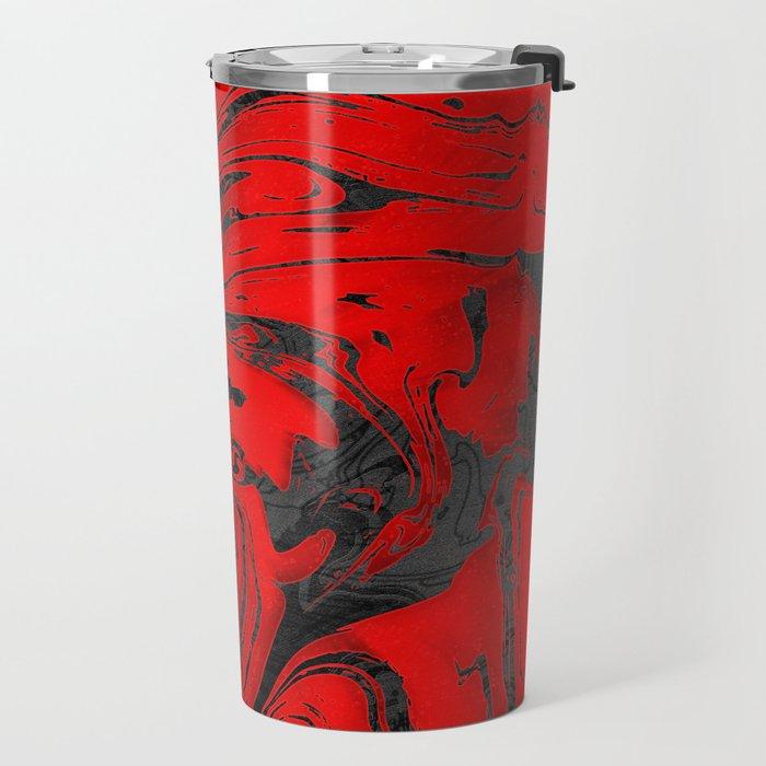 Black & Red Marble I Travel Mug