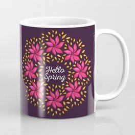 Hello Spring Watercolor Flowers Wreath Coffee Mug