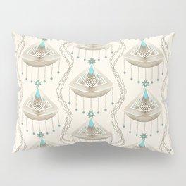 Beautiful medallions with blue gems art deco ornamental print jewelry Pillow Sham