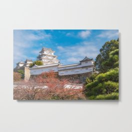 The white Architecture of Himeji Castle in autumn in Japan. Metal Print