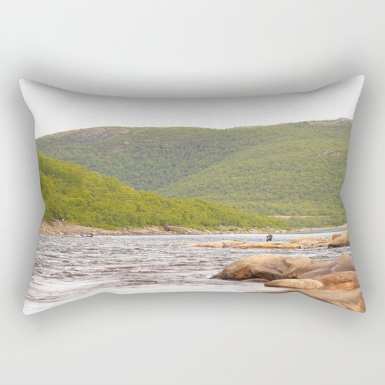 Fly-fishing On The River  Rectangular Pillow