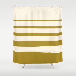 Horizontal irregular stripes golden green on beige Shower Curtain