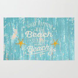 Happy Beach Life- Saying on aqua wood Rug