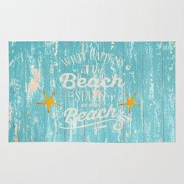Happy Beach Life- Saying on aqua wood on #Society6 Rug