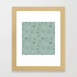 Mint grey green tropical flower print Framed Art Print