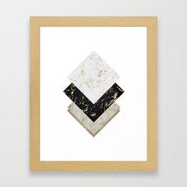 Scandinavian Geometric   Black Gold White Marble Framed Art Print