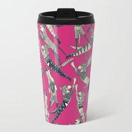 dog party indigo pink Travel Mug