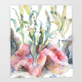 White Calla Lily and Corals Seaweed Watercolor Surreal Botanical Underwater Throw Blanket