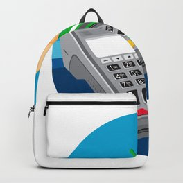 Hand Swiping Credit Card on POS Terminal Retro Backpack