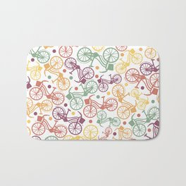 Whimsical bicycle pattern & retro polka dots Bath Mat
