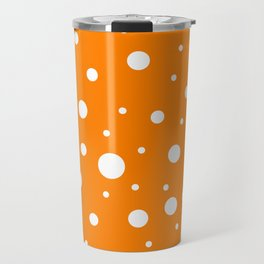 Mixed Polka Dots - White on Orange Travel Mug