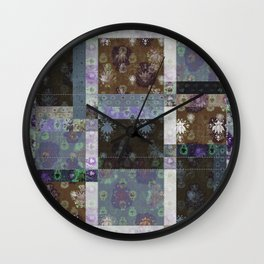 Lotus flower coffee brown and lavender blue stitched patchwork - woodblock print style pattern Wall Clock